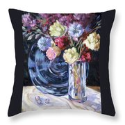 Blue Glass And Marbles Throw Pillow