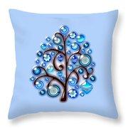 Blue Glass Ornaments Throw Pillow