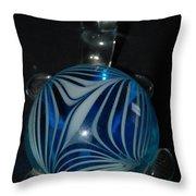 Blue Glass Turtle Throw Pillow