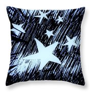 Blue Glow Starry Abstract Throw Pillow