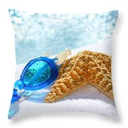 Blue Goggles On A White Towel  Throw Pillow