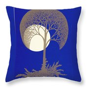 Blue Gold Moon Throw Pillow