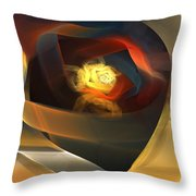 Blue Gold Ribbons Throw Pillow
