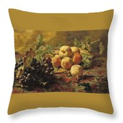 Blue Grapes And Peaches In A Wicker Basket Throw Pillow