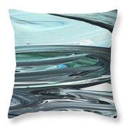 Blue Gray Brush Strokes Abstract Art For Interior Decor V Throw Pillow