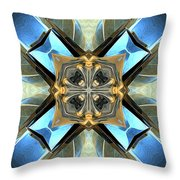 Blue, Green And Gold Abstract Throw Pillow