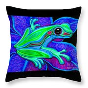 Blue Green Frog Throw Pillow