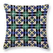 Blue Green Lisbon Tiles Souvenirs Throw Pillow