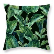 Blue Green Watercolor Tropical Leaves Throw Pillow