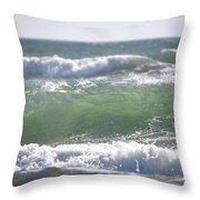 Blue Green Waves Throw Pillow