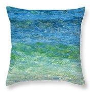 Blue Green Waves Throw Pillow