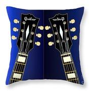 Blue Guitar Reflections Throw Pillow