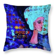 Blue Haired Girl On Windy Day Throw Pillow