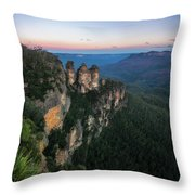 Blue Haze At Sunrise At Ecco Point In Blue Mountains Throw Pillow