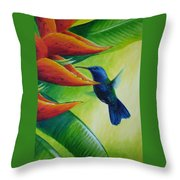Blue-headed Hummingbird Throw Pillow