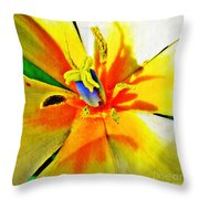 Blue Heart Of The Tulip Throw Pillow