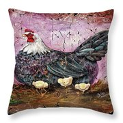 Blue Hen With Chicks Fresco Black Background Throw Pillow