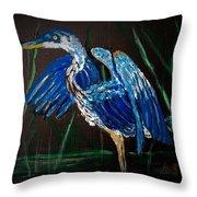 Blue Heron At Night Throw Pillow