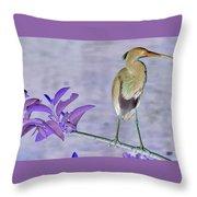 Blue Heron Colorized Throw Pillow