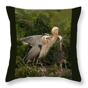 Blue Heron Family Throw Pillow
