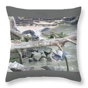 Blue Heron Fight Throw Pillow