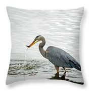 Blue Heron Fishing Throw Pillow
