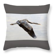 Blue Heron Flyby Throw Pillow