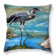 Blue Heron I Throw Pillow