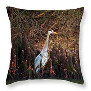 Blue Heron In The Cypress Knees Throw Pillow