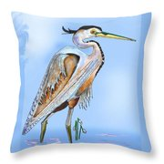 Blue Heron In The Mist Throw Pillow