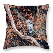 Blue Heron In Tree Throw Pillow