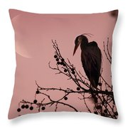 The Heron And The Moon Throw Pillow