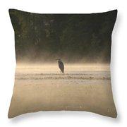 Blue Heron Morning Throw Pillow