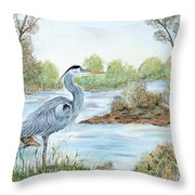 Blue Heron Of The Marshlands Throw Pillow