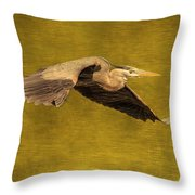 Blue Heron On Gold Throw Pillow