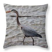 Blue Heron  On The Lake Throw Pillow