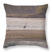 Blue Heron On The Yellowstone Throw Pillow