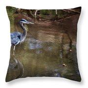 Blue Heron Stalking  Throw Pillow