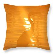 Blue Heron Sunrise Throw Pillow