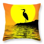 Blue Heron Sunset Throw Pillow