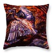 Blue Heron Swirl Throw Pillow