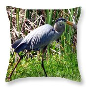 Blue Heron With Lunch Throw Pillow