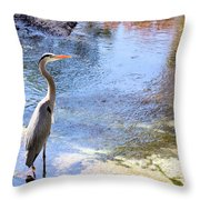 Blue Heron With Shadow Throw Pillow