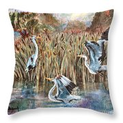 Blue Herons And Cats Throw Pillow