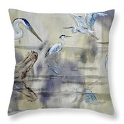 Great Blue Herons Chilling Throw Pillow