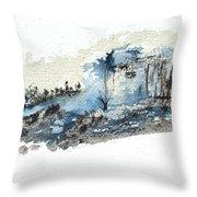 Blue Hillside Throw Pillow