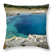 Blue Hot Springs Yellowstone National Park Throw Pillow