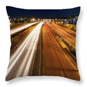 Blue Hour Freeway Light Trails Throw Pillow
