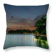 Blue Hour Harbourfront Singapore Throw Pillow