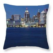 Blue Hour In Detroit Throw Pillow